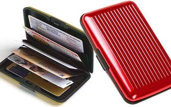 Hliníkové pouzdro na doklady v několika různých barevných provedeních