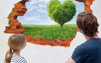 3D samolepka na zeď - Strom ve tvaru srdce - dodání do 2 dnů