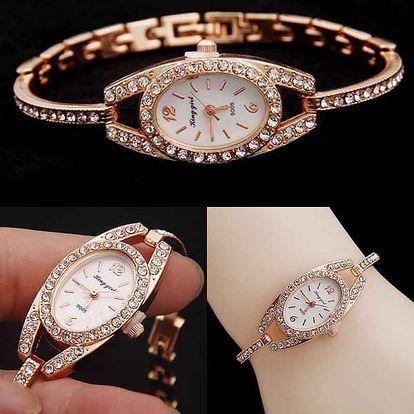 Dámské hodinky s uzoučkým páskem a kamínky