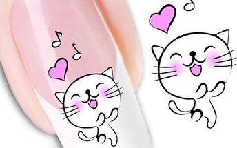 Samolepky na nehty - roztomilá kočička