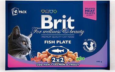 Brit Premium Cat kapsička Fish Plate 400 g (4x100 g)