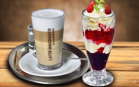 Ovocný pohár s domácí šlehačkou a výtečná káva