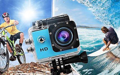 Vodotěsná outdoorová kamera s rozlišením HD 720p + pouzdro, USB kabel a držáky