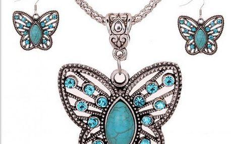 Set motýlkových šperků v tyrkysové barvě - dodání do 2 dnů