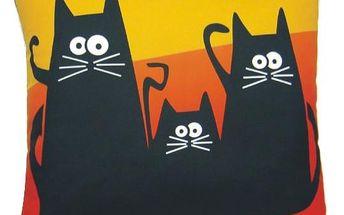 Polštář Gaul kočky 09 40x40 cm, oranžová, Gaul designs Varianta: Povlak na polštář, 40x40 cm