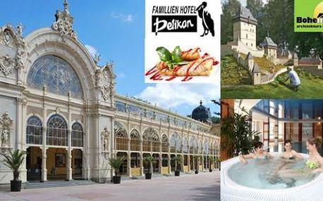 Mariánské Lázně Hotel Pelikán na 4 dny pro 2 s polopenzí, vínem, palačinkami a slevami až do Vánoc