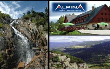 Špindlerův Mlýn: Hotel Alpina*** v létě i na podzim: na 3 dny pro 2 s polopenzí, saunou a slevami
