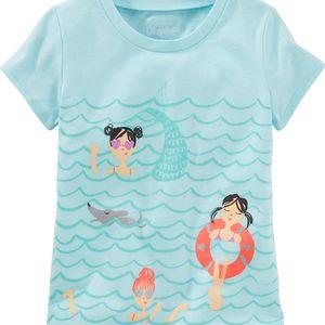 Oshkosh Dívčí tričko s potiskem ve vodě- modré, 68 cm