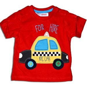 Minoti Chlapecké tričko s taxíkem Bus - červené, 80 cm