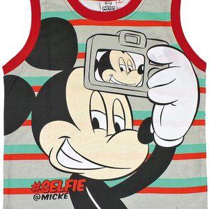 Disney Brand Chlapecké pruhované triko bez rukávů Mickey - červeno - zelené, 92 cm