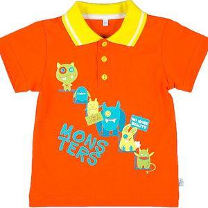MMDadak Chlapecké polo tričko Pretty Monster - oranžové, 74 cm