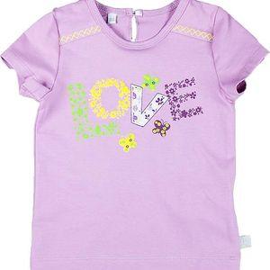 MMDadak Dívčí tričko s potiskem Love - fialové, 68 cm