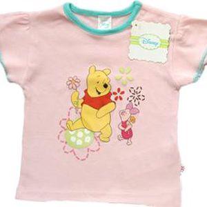 E plus M Dívčí tričko Medvídek Pú - světle růžové, 62