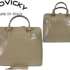 Elegantní dámská kabelka z pravé kůže béžová
