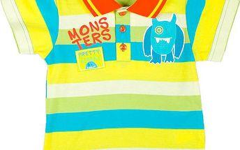 MMDadak Chlapecké pruhované polo tričko Pretty Monster - žluto-modré, 68 cm