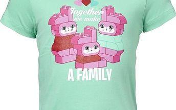 LEGO wear Dívčí tričko s růžovým potiskem - zelené, 74 cm