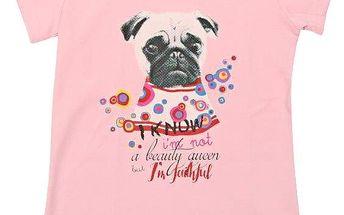 Escallante Dívčí tričko s pejskem - světle růžové, 140 cm