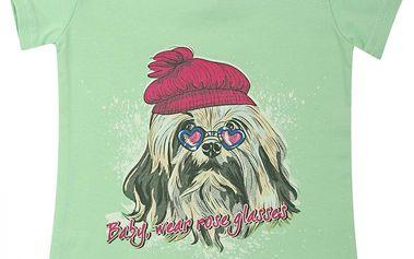 Escallante Dívčí tričko s pejskem - zelené, 80 cm
