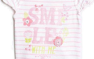Blue Seven Dívčí pruhované tričko s třpytivým potiskem - světle růžové, 62 cm