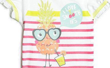 Blue Seven Dívčí pruhované tričko s ananasem - bílé, 62 cm