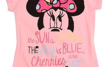 Disney Dívčí tričko Minnie - růžové s krátkým rukávem, 140 cm