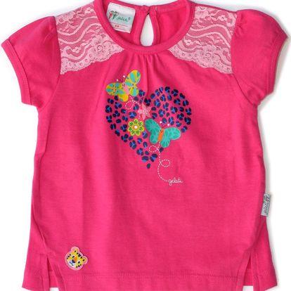 Gelati Dívčí tričko se srdíčkem - růžové, 68 cm