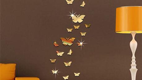 Zrcadlová dekorace v podobě motýlů - 3 barvy