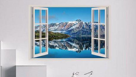 Samolepka na zeď - Výhled na jezero v horách - poštovné zdarma