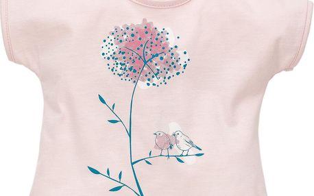 Pinokio Dívčí tričko s ptáčky, krátký rukáv - růžové, 74 cm