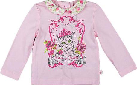 MMDadak Dívčí tričko s límečkem a kočičkou, 80 cm
