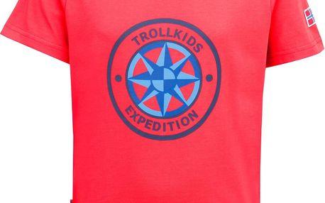 Trollkids Dětské rychle-schnoucí tričko Windrose s UV 30+ - červené, 98 cm