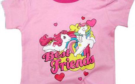 E plus M Dívčí tričko Pony - světle růžové, 62