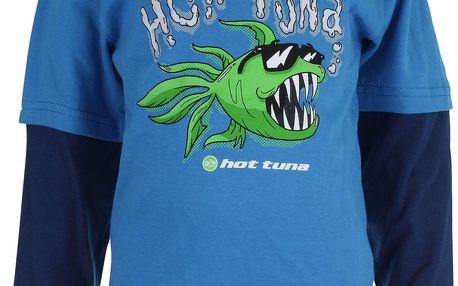 HOT TUNA Chlapecké tričko s dlouhým rukávem Cool Fish - modré, S