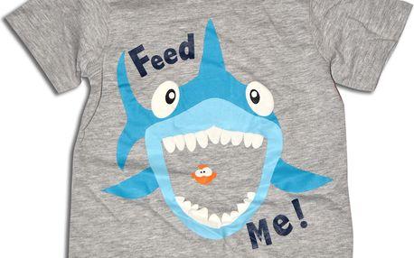 Minoti Chlapecké tričko se žralokem Snap - šedé, 80 cm