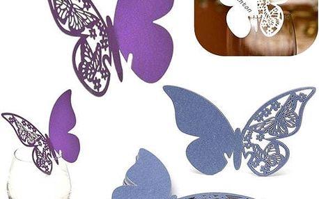 50 kusů motýlků - jmenovky na svatební hostinu - bílá - dodání do 2 dnů