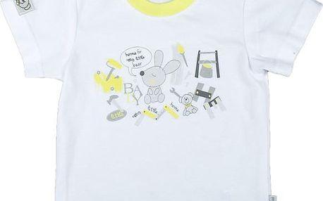 MMDadak Chlapecké tričko s potiskem králíčka - bílé, 62 cm