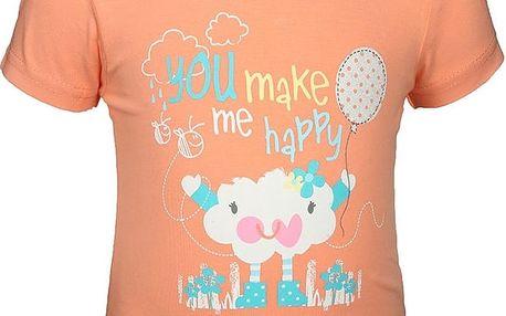 Blue Seven Dívčí tričko s mráčkem - lososové, 56 cm