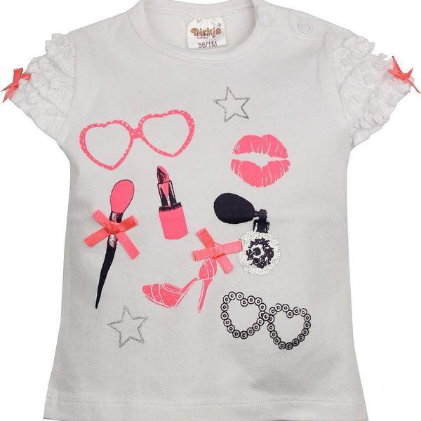 Dirkje Dívčí tričko s dekorativní aplikací - bílé, 74 cm