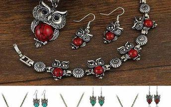 Retro souprava šperků se sovičkami