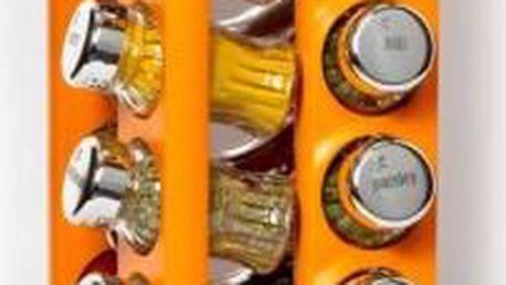 Kořenky dřevěné 16 ks, otočné, s kořením, oranžový stojan GALD GD-21639