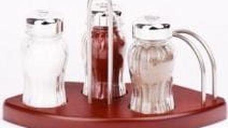 Sada sůl, pepř, paprika ve dřevěném stojanu, s kořením, hnědý stojan GALD GD-20908