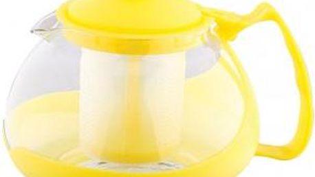 Konvice na čaj sklo plast 750 ml žlutá RENBERG RB-3026zlut