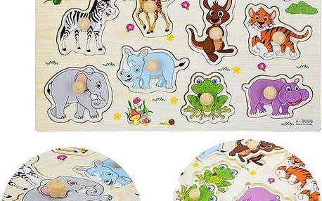 Dřevěné vkládací puzzle pro děti