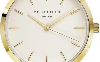 Dámské hodinky Rosefield - The Mercer, bílé/zlaté - doprava zdarma!