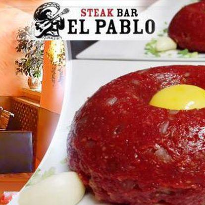 500g uruguayský hovězí tatarák až pro 4 osoby + 16 topinek, El Pablo Steak Bar, Malá Strana
