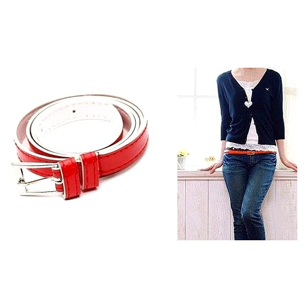 Krásný dámský pásek z PU kůže v červené barvě - ideální doplněk k džínům včetně poštovného!