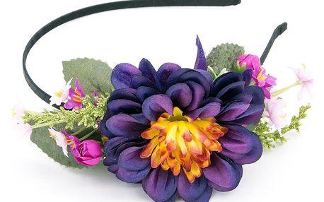 Fashion Icon Čelenka do vlasů bohatá květinová chryzantéma