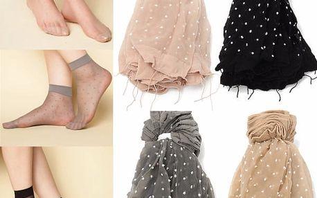 10 párů dámských silonkových ponožek s puntíky