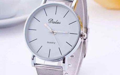Dámské hodiny s kovovým páskem ve stříbrné barvě