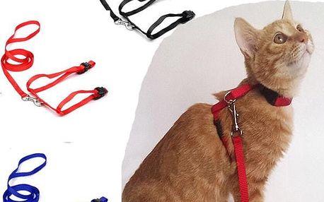 Nylonový postroj a vodítko pro kočky